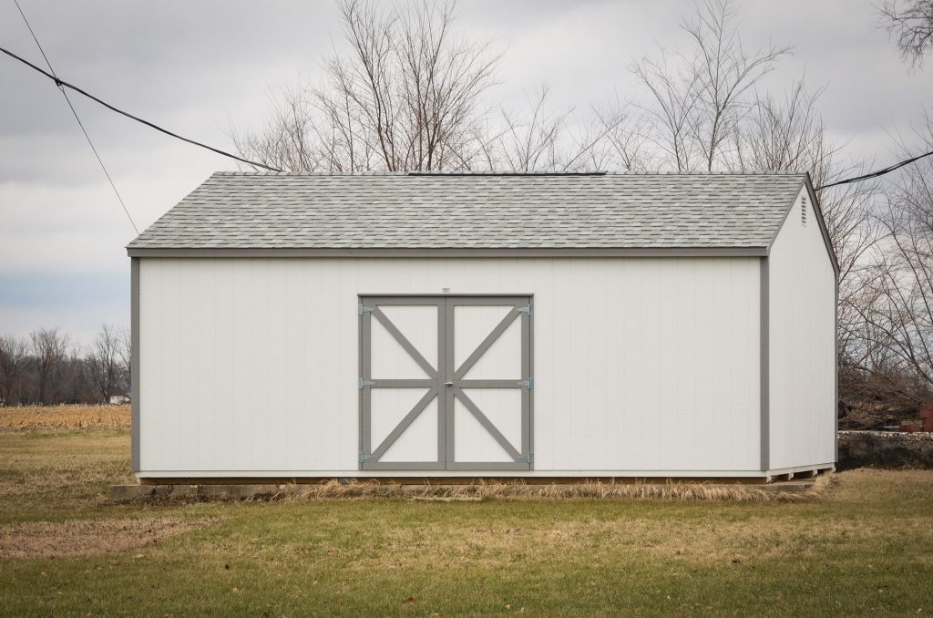 A delivered storage shed in Indiana