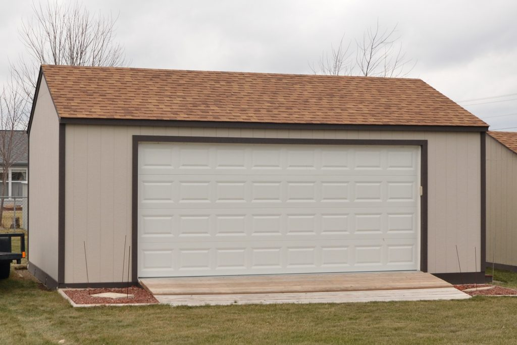 Customized roofing and siding options on a storage shed in Indiana