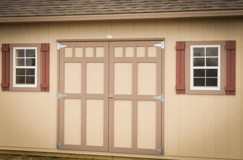 Available storage shed window and door options