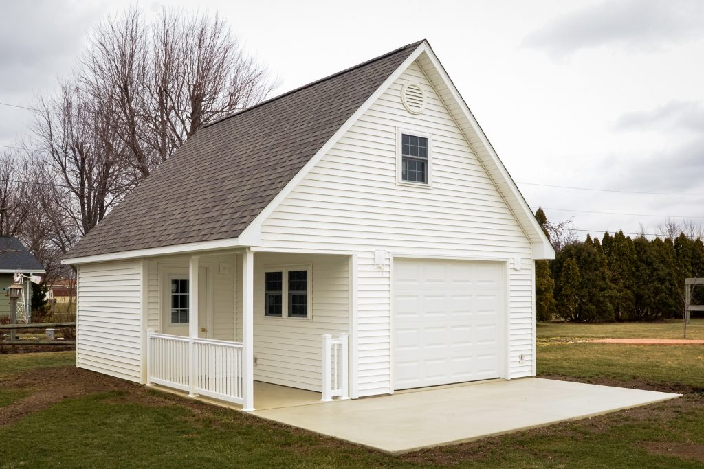 Siding and roofing options on a storage shed in Indiana