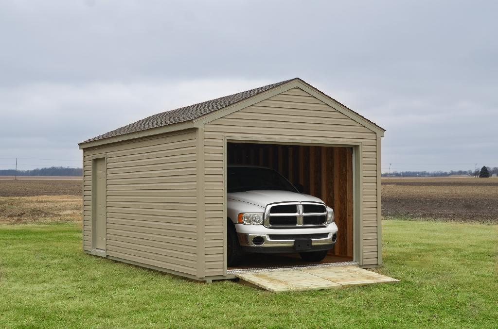 A prefab single car garage near Fort Wayne, Indiana
