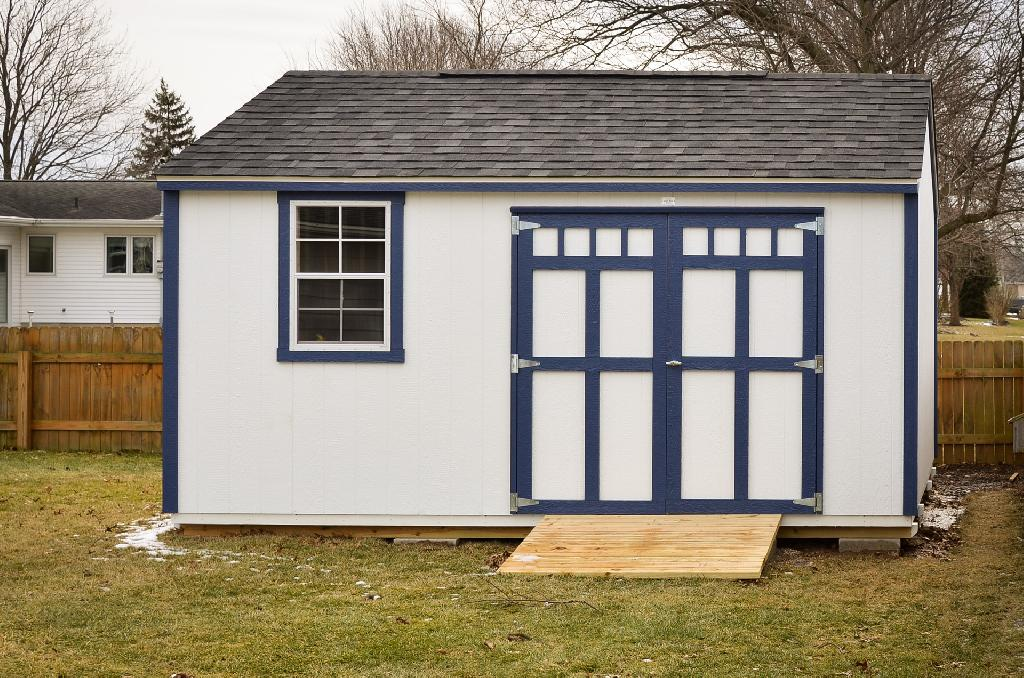 An A-frame storage shed in Indiana