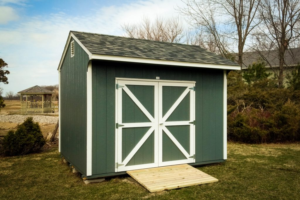 A cottage style backyard storage shed near Fort Wayne, IN